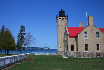Mackinac Point Bridge and Lighthouse in Michigan