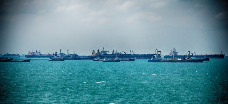 Cargo Ship Sailing in High Sea