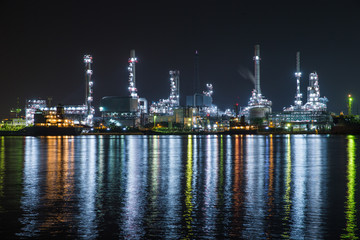 oil refinery industry plant along twilight morning. View gas processing factory. gas and oil industry.