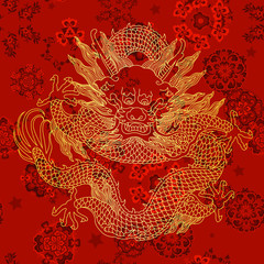 This is a traditionally Chinese ornament with a dragon and clouds.The dragon is the highest ranking animal in the Chinese animal hierarchy. It also represents a state symbol that is an emperor's role.