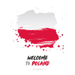 Welcome to Poland. Flag and map of the country