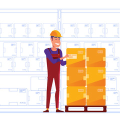Warehouse worker is storing boxes on the pallet. Happy man near the storage racks as a concept of convenient warehouse and logistics facility. Vector illustration on white background.