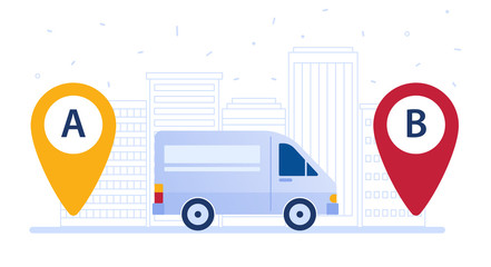 Delivery van shipping cargo according to delivery route. Navigation pins and a truck as a concept of delivery area, map tool and carrier route vector flat design illustration on white background.