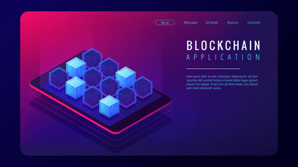 Isometric blockchain application landing page concept. Blockchain technology as an application platform, trust infrastructure illustration on ultra violet background. Vector 3d isometric illustration.