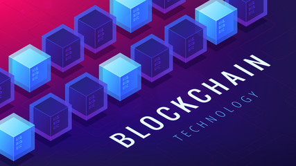 Isometric blockchain technology concept. Computer network, global cryptocurrency stock exchange and blockchain data transfer illustration on ultraviolet background. Vector 3d isometric illustration.
