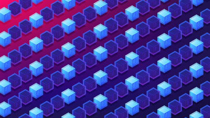 Isometric blockchain proof of stake concept. PoS, block transactions validation, cryptographic calculations, mining power illustration on ultra violet background. Vector 3d isometric illustration.