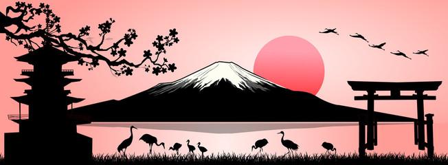 Mount Fuji, landscape. Silhouette Fuji mountain at sunset.