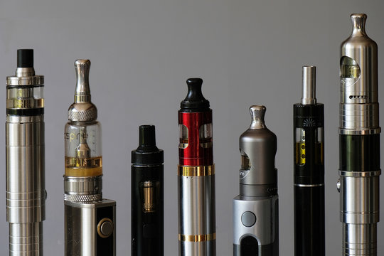A set of different tube e-cigarettes for vaping or electronic smoking