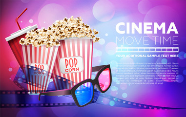 Colorful design of movie poster with popcorn and glasses on blue and pink background in bokeh lights