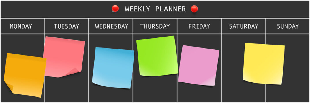 Weekly planner with memory notes. Vector illustration. Can be use for template your design, presentation, promo, ad. EPS10.