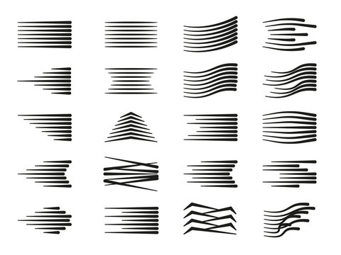 Collection of speed lines with various directions and shapes arranged on white background