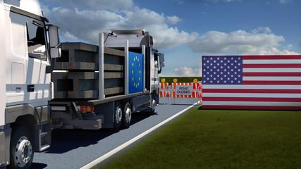 Europäischer LKW mit Stahl steht vor Straßenbarriere /  Strafzölle auf Stahl und Aluminium