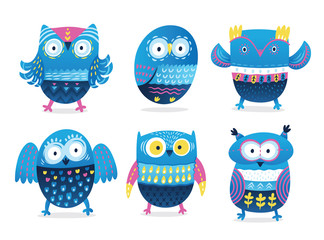 Funny owls collection in cartoon style. Vector illustration