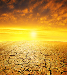 Dry country with cracked soil at sunset. Global warming concept.