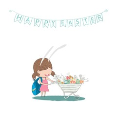 Cartoon girl rabbit easter eggs.