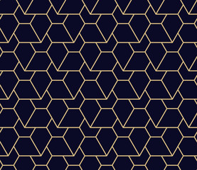 Abstract geometric pattern. A seamless vector background. Dark blue and gold ornament. Graphic modern pattern
