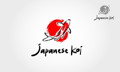 Japanese Koi Logo Template. This logo perfectly used for any fishing or aquarium related businesses.