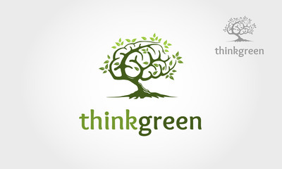 Thinkgreen vector logo template. Excellent logo,simple and unique.