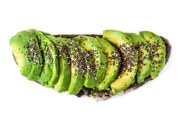 Sliced avocado on toast bread with Chia seeds  isolated on the white background. SuperFood.  Healthy eating  concept. Top view