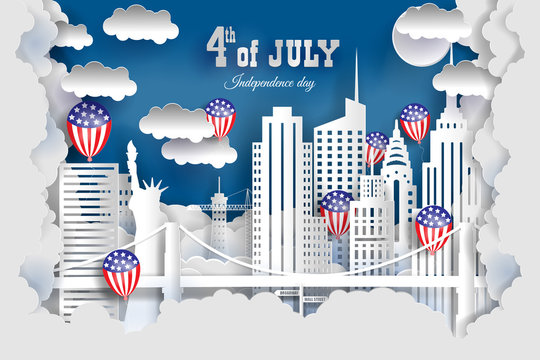 The US independence day. New York city concept, paper art city on back with buildings, statue of liberty, bridge, clouds, balloons . Origami and travel concept, vector art illustration.
