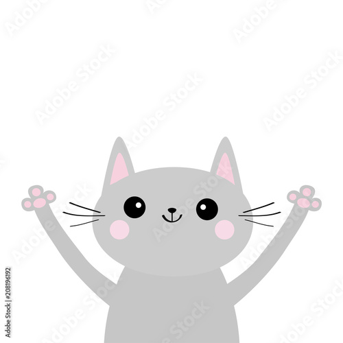 Gray Cat Silhouette Head And Hands Up Cute Cartoon Kitty Character Kawaii Animal
