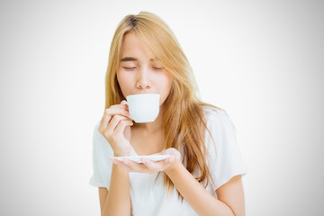 girl teen holding coffee cup to drinking coffee on white background