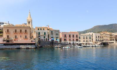 Waterfront in Lipari, main city on one of Aeolian islands near Sicily in Tyrrhenian Sea.