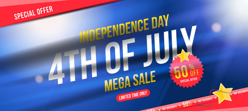 Flyer Celebrate Happy 4th of July - Independence Day. Mega sale with sticker 50% off. National American holiday event. Flat Vector illustration EPS10