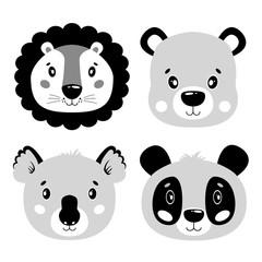 Cute vector set lion, panda, bear, koala face. One object on a white background. Cartoon illustration