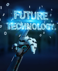 White robot hand using future technology text hologram 3D rendering