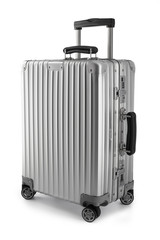Suitcase or traveling luggage bag isolated on black background