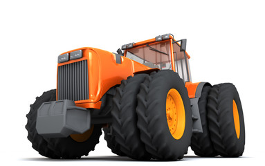 Glossy orange wheel harvesting tracktor moving from right to left isolated on white background. 3D illustration. Front side view. Perspective
