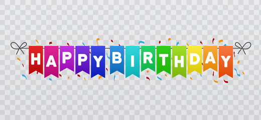 Happy Birthday flags banner. Transparent background. Eps10 Vector.