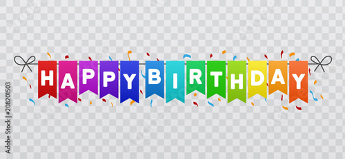 Happy Birthday flags banner  Transparent background  Eps10 Vector