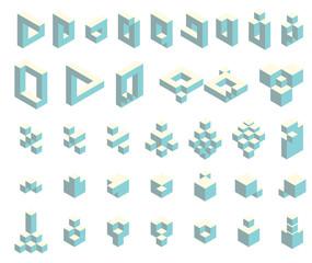 Isometric cubes set
