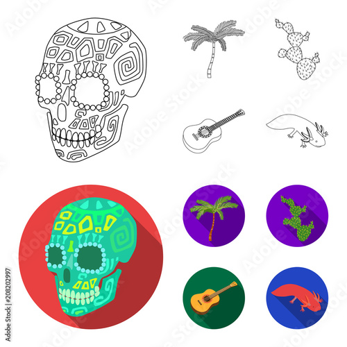 Green Skull With A Picture A Palm Tree A Guitar A National