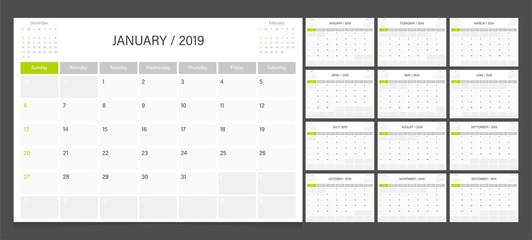 Calendar 2019 week start on Sunday corporate design planner template.