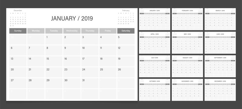 Calendar 2019 week start on Sunday corporate design planner template. Black and white.