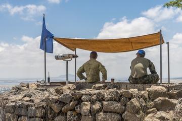 Golan Heights, Israel - May 6, 2018 : UN observers in the Israeli syrian border