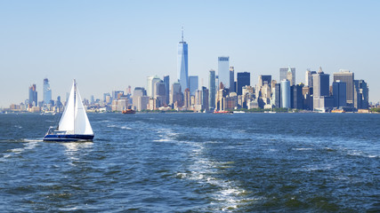 New York City Manhattan skyline from the sea