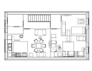 Apartment Plan Architect Blueprint Isolated