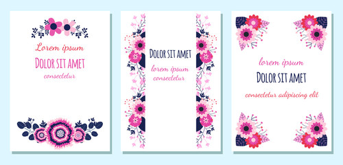 Floral wedding invitations or greeting cards with blue, pink and violet flowers