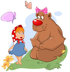 Illustration of the Little Girl and the Big Bear. Cartoon