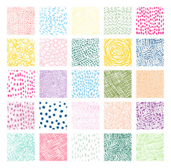 Hand drawn colorful square vector textures with lines, dots and scribbles for graphic design