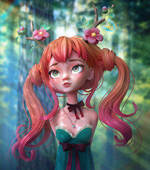 3d cartoon character red-haired girl walking through the forest. Dreaming girl with two tails wearing floral antlers. Forest girl with green eyes. Deer girl. Druid girl. Ginger girl. 3d rendering.