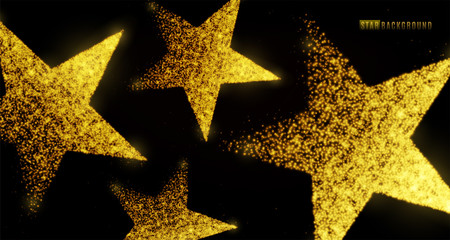 Star background design with glowing particles isolated on dark black backdrop. Light golden star shapes consist of shine, glitter, glow, spark effect