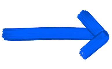 Gemalter blauer Pfeil zeigt nach rechts