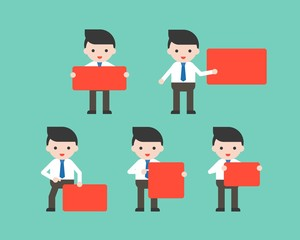 Businessmen holding red blank sign in various pose, flat design