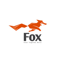 Abstract run fox logo