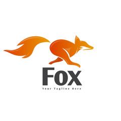 Running fox with jump art logo